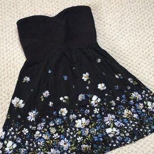 Kimchi Blue black floral strapless dress